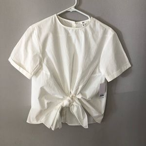 BP. Nordstrom white front tie blouse size xs